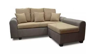 3-Seater Fabric Sofa with Stool