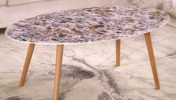 Eliza II Oval Coffee Table Marble Texture